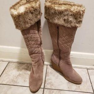 Loft Faux Fur Quilted Suede Wedge Boot